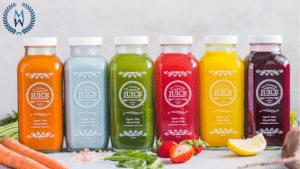 rainbow assortment of juices