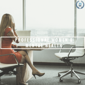 businesswoman at desk banner for professional woman and mental health