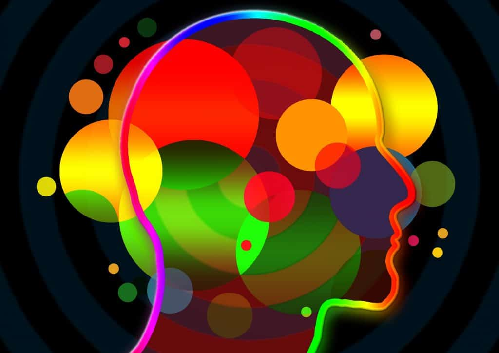 colorful illustration of human head symbolizing elements of the mind
