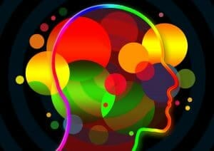 colorful illustration of human head symbolizing elements of the mind