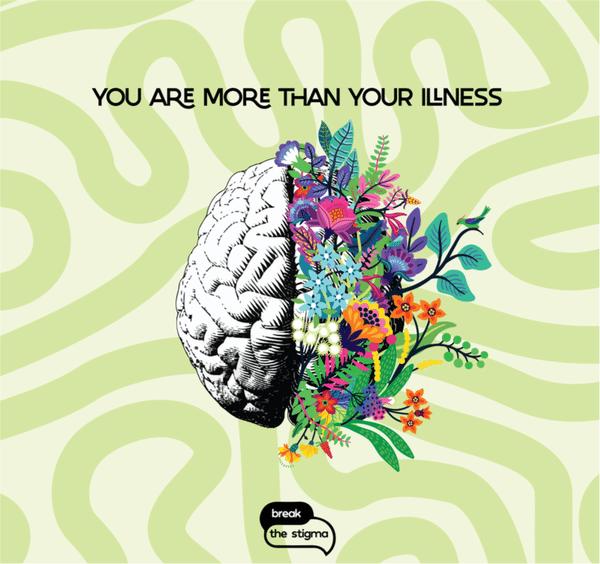 illustration of brain with flowers on half