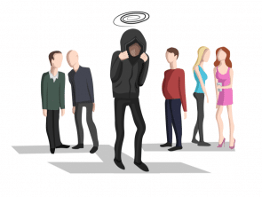 illustraion of embarrassed man with people looking at him