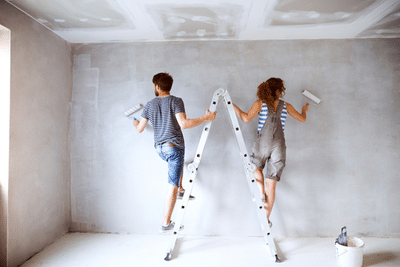 couple on a ladder painting
